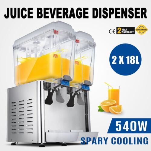 9.5 Gallon Cold Juice Beverage Dispenser Ice Tea Cooler Drinks Commerical 2x18L
