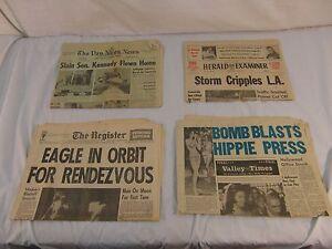 QTY-4-Vintage-Historical-Newspaper-Elvis-Dead-JFK-Dead-Moon-Landing-Attack