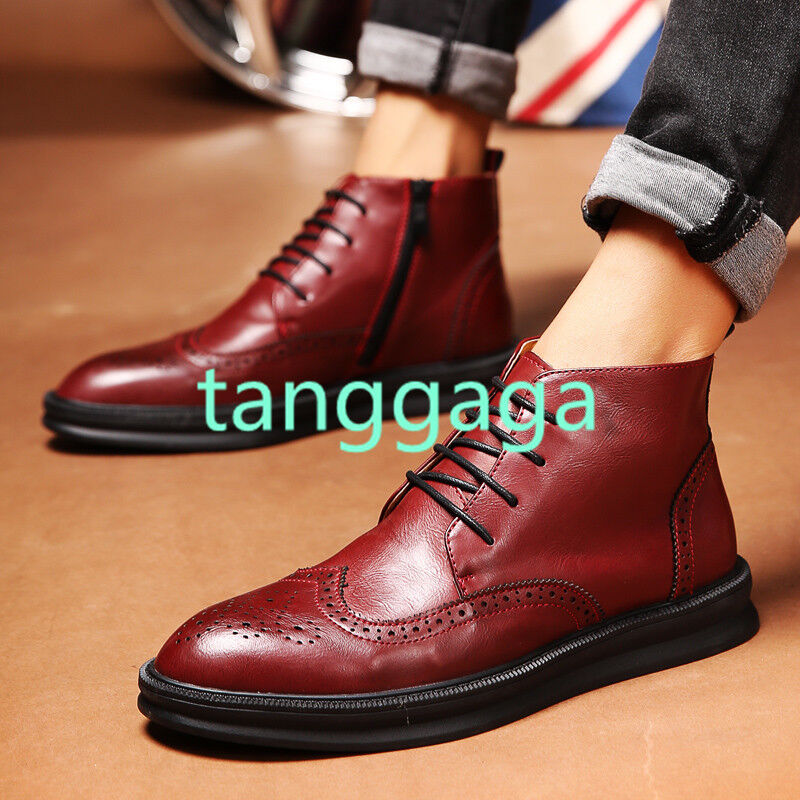 Mens Ankle Boots Leather British Style Oxfords Wing Tip Brogue Lace up shoes