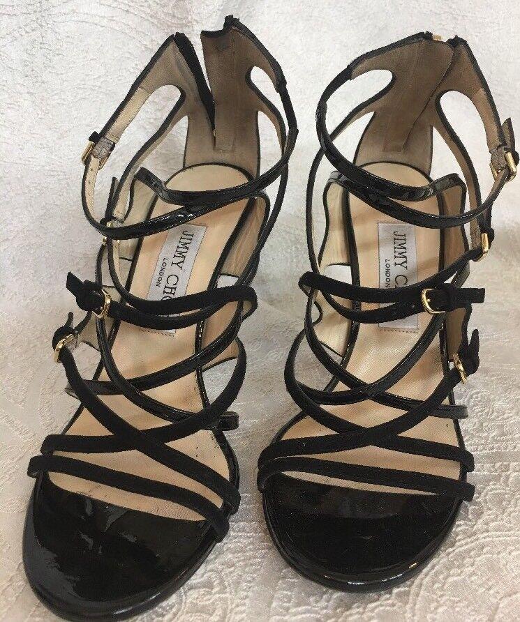 vendita con alto sconto Jimmy Choo nero Patent And Suede strappy Suede heel heel heel Dimensione 37 1 2  ordina adesso