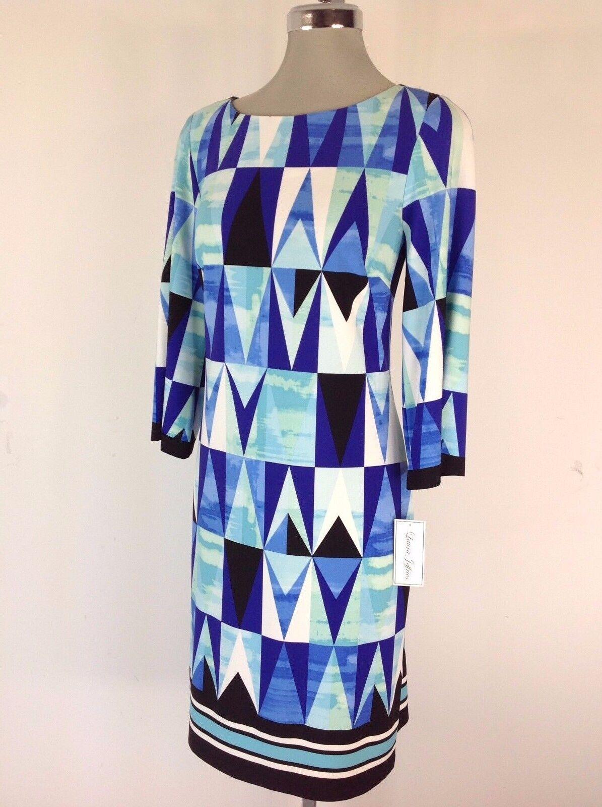 Laura Jeffries Elegant Multi bluee Geometric Print with 3 4 sleeves Dress