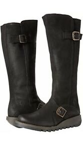Fly-London-Sah0854-Levis-Black-Knee-High-Leather-Boots-size-EU41-Black