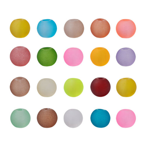 5 Bags Round Transparent Frosted Glass Beads 6~7x6mm Hole 1mm about 100pcs//bag