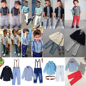 2tlg Baby Kinder Jungen Anzug Shirt Hemd Tops Denim Hose Outfits Set Gentleman