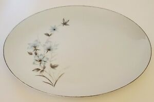Nasco Linda Oval Serving Platter Made in Japan Fine China Blue Gray Floral 12""
