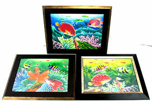 Lot-of-3-Acrylic-Embellished-Art-Pictures-Sea-World-Ocean-Fish-Wood-Framed