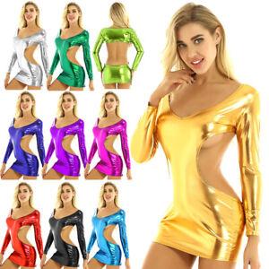 Women-039-s-Metallic-Long-Sleeve-Backless-Mini-Dress-Bodycon-Clubwear-Party-Night