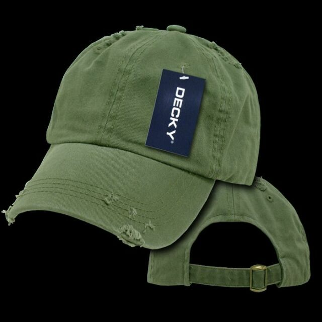 STRAPBACK POLO HAT Plain Blank Baseball Dad Cap Distressed Torn Relaxed  OLIVE 83bc38efdbd