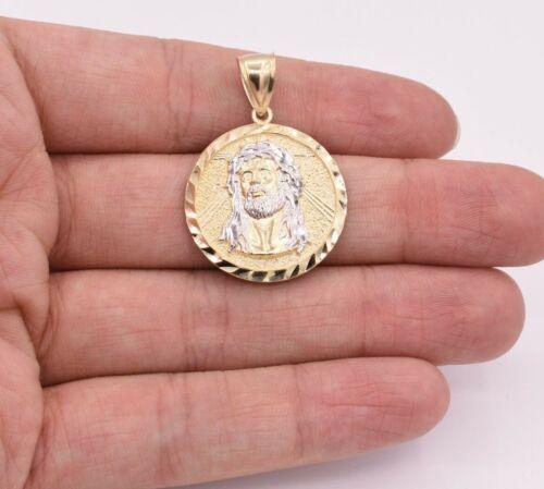 """1 1//2/"""" Jésus Visage Diamant Coupe Ovale Médaillon Pendentif Véritable 10K Jaune or blanc"""