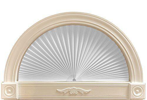 72x36 Half Round Arch Window Light Blocking Filtering Pleated Paper Shade White