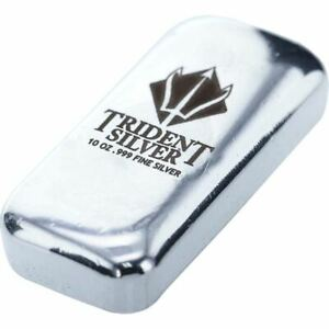 10-oz-Trident-POURED-Mint-Silver-Bar-999-Fine-Silver-NEW-SEALED