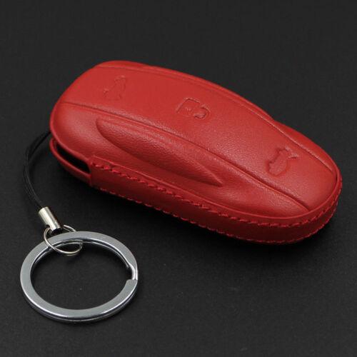 Genuine Leather Car Smart Remote Key Fob Case Cover Holder For Tesla Model X//S