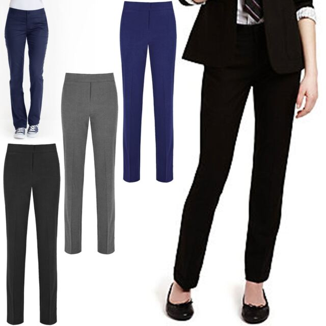 Girls Ladies School Uniform Sturdy Wide Fit Elastic Back Trousers 4-16Yrs GB3045