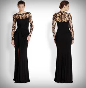 DAVID MEISTER $628 Black Metallic Lace Overlay Draped Gown Dress ...