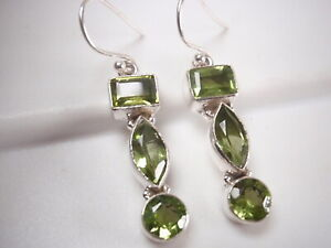 Faceted-Peridot-Marquise-925-Sterling-Silver-Dangle-3-Gem-Earrings