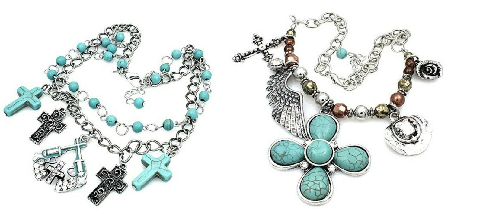 BHW Bling Cowgirl Boot Anklet Jewelry Turquoise Womens Western Charm Chain Strap