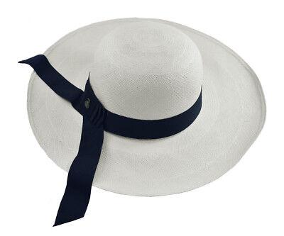 Classy Long Brim Genuine Panama Hat Handwoven in Ecuador Toquilla Straw