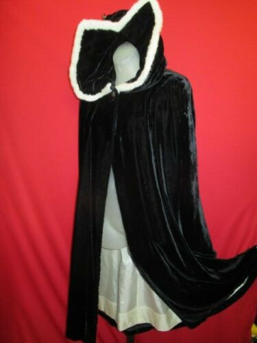 Vtg 40's Black Velvet White Furry Angora trim Hood