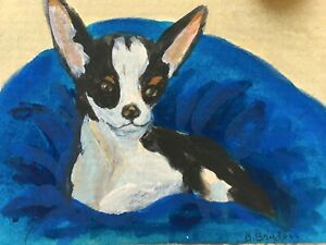 Chihuahua-dog-puppy-ACEO-Original-Miniature-acrylic-Painting-CapeCodArtist