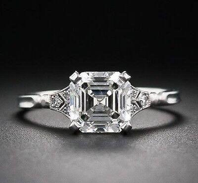 2 00 Carat Asscher Cut Diamond Antique Art Deco Engagement Ring Solid 925 Silver Ebay