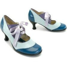 JOHN FLUEVOG BELLEVUES: LUCILLE LACE-UP MARY JANE HEELS 10.5 BLUE PUMPS SHOES