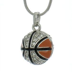 f1fcef911b W Swarovski Crystal Basketball 3D Ball NBA Jewelry Orange Necklace ...