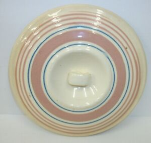 Vintage-Pink-amp-Blue-Striped-Pottery-Casserole-or-Bowl-LID-ONLY-7-25-034