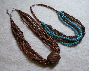 MULTI-STRAND-BROWN-amp-BLUE-WOOD-amp-LUCITE-BEADED-BOHO-NECKLACE-LOT