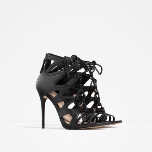 aus Schwarze Leder mit Absatz Schnürstiefeletten Zara 41 hohem Größe 1qfvnEw7P