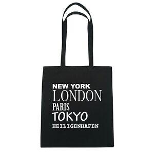 New York, London, Paris, Tokyo HEILIGENHAFEN - Jutebeutel Tasche - Farbe: schw