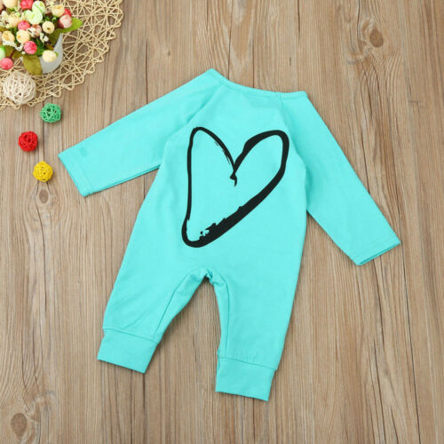 Newborn Infant Girls Long Sleeve Solid Cotton Rompers Back Heart Print Jumpsuits