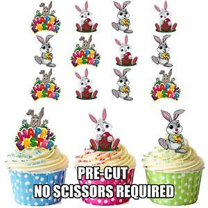 PRECUT Horse Farm Animals 12 Edible Cupcake Toppers Decorations Birthday Party