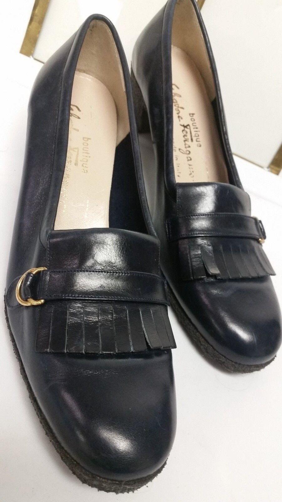 Womens SALVATORE FERRAGAMO Classic Patent bluee Leather Pump shoes shoes shoes Size 8.5AA 2485f1