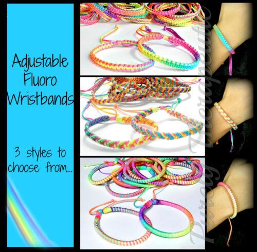 ~1x FLUORO RAINBOW WRISTBAND BRACELET~Adjustable~3 Styles Available~Surfer~Cuff