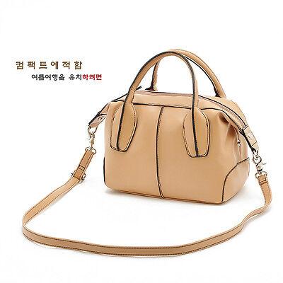 Beige Leather Fashion Women Messenger Bag CrossBody Mail Bag Flap Shoulder Purse