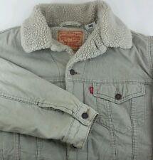Levis M Medium Tan Corduroy Trucker Jacket Sherpa Lined Jacket Coat 70520