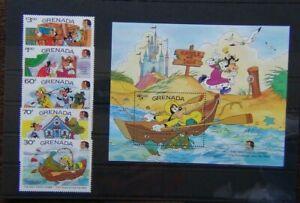 Grenada-1985-nascita-centenario-dei-fratelli-Grimm-Disney-Set-amp-in-miniatura-foglio-Gomma-integra