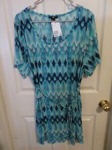 Nouveau-H-amp-M-femme-maillot-de-bain-Cover-Up-Turquoise-amp-bleu-Adobe-robe-taille-M