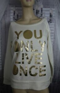 PARISIAN-sweat-top-top-size-L-cream-with-gold-lettering-YOLO-wide-neck