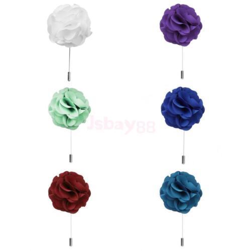 Lot 6PCs Men/'s Fleur Boutonnière Broche Corsage Tuxedo Mariage Fête Lapel Pins