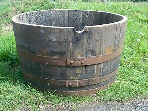 Half Oak Barrel Planters 29 72cm Diameter Natural Bands
