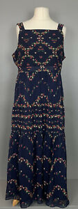 Laura-Ashley-Uk16-Navy-Floral-Tiered-Maxi-Dress-Side-Zip-Lining-Tags-RRP-95