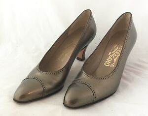 Toe Toe Brown Ferragamo Aaaa Toe Sz Boutique Bronze 7 Vtg Talons Chaussures 1Kc3TFJl