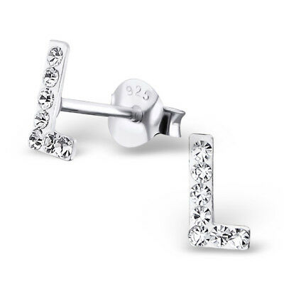 Childrens Girls 925 Sterling Silver Initial L with Clear Crystals Stud Earrings