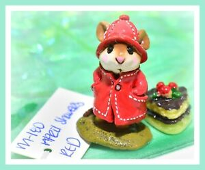 ❤️Wee Forest Folk M-180 April Showers Red Rain Coat Hat Mouse Retired WFF❤️