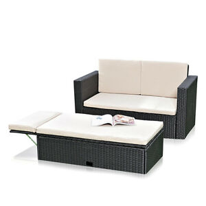 polyrattan gartensofa und klappbare fu bank lounge sessel gartenm bel schwarz ebay. Black Bedroom Furniture Sets. Home Design Ideas