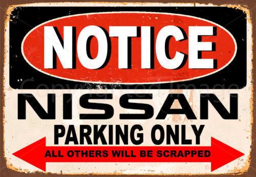 Notice Nissan voitures parking only Métal Tin Signe Affiche Plaque Murale