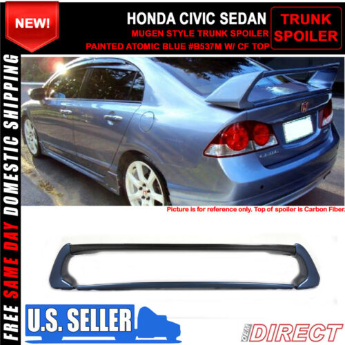 Painted Atomic Blue 06-11 Civic Mug RR Style Carbon Top Painted Trunk Spoiler