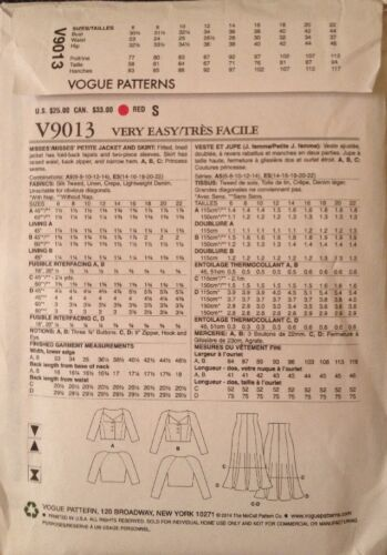 Flare Skirt UNCUT VERY EASY VOGUE Sewing Pattern V9013 Misses/' Cropped Jacket