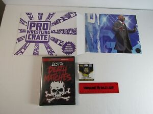 Pro Wrestling Crate Lot Teddy Long Auto 8 X 10,Best of Death Matches DVD, Pin +